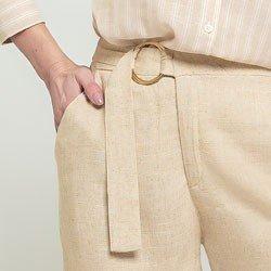 calca pantacourt areia jaine fivela