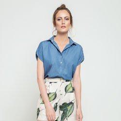 blusa ampla azul lidiane design