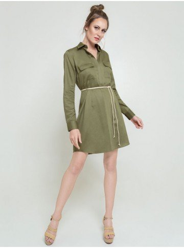 vestid verde militar flavia frente