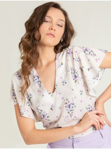 blusa creme floral valery frente