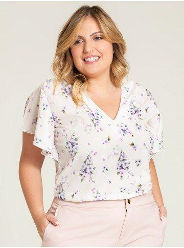 blusa creme floral valery plus frente