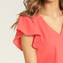 blusa coral decote v marnie mangas tecido