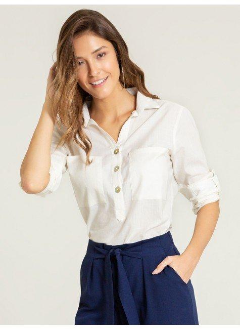 blusa ampla off white arven frente