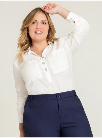 blusa ampla off white arven plus frente