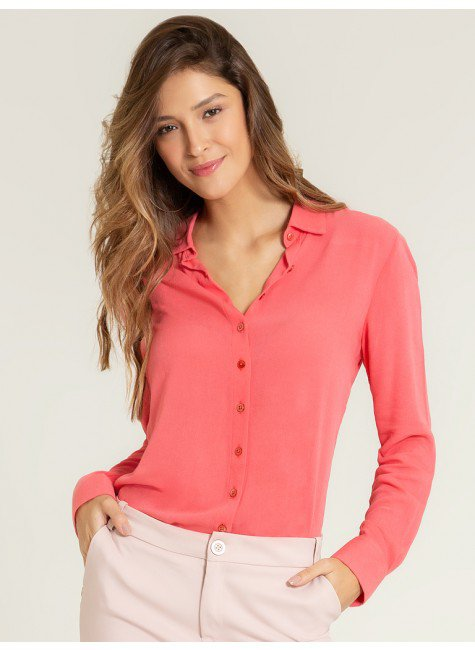 camisa social coral camelia frente