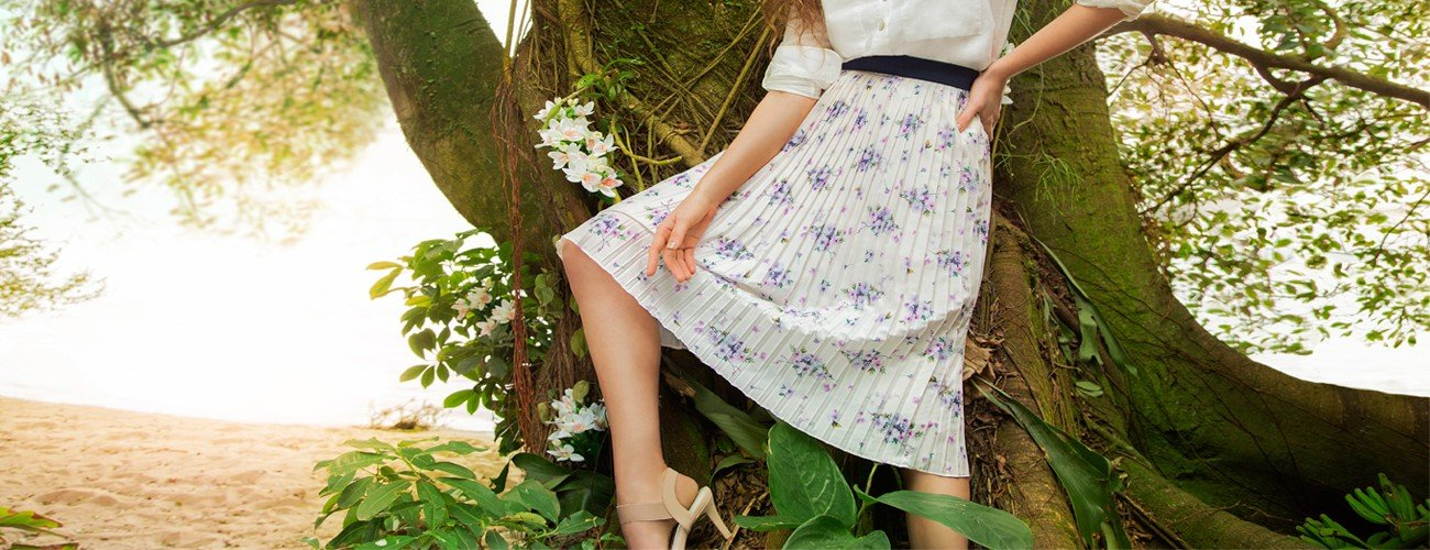 saia midi plissada floral marisol banner