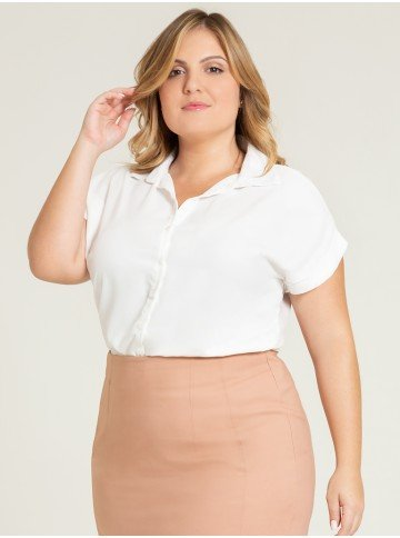 camisa ampla off white makayla frente plus