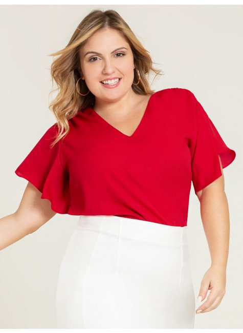blusa plus vermelha alberta frente