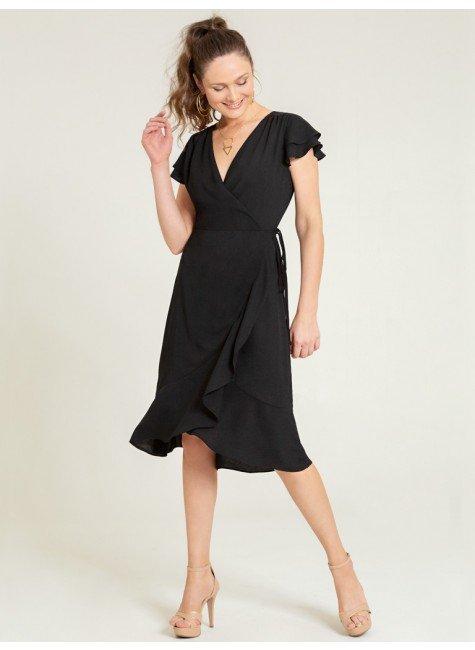 vestido preto transpassado alida frente