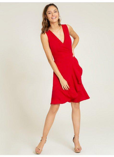 vestido vermelho transpasse monise frente