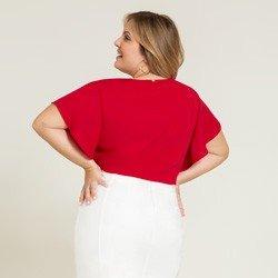 blusa plus vermelha alberta modelagem