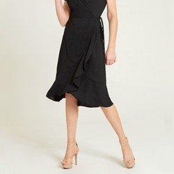 vestido transpassado preto alida detalhes