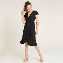 vestido transpassado preto alida geral