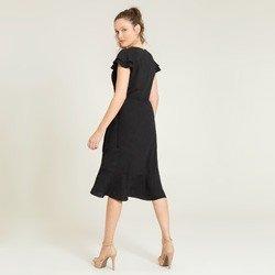 vestido transpassado preto alida tecido