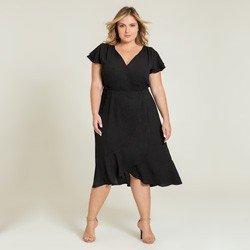 vestido plus preto transpassado alida geral