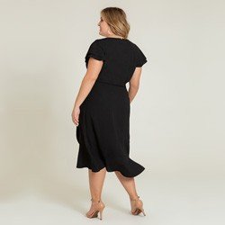 vestido plus preto transpassado alida modelagem