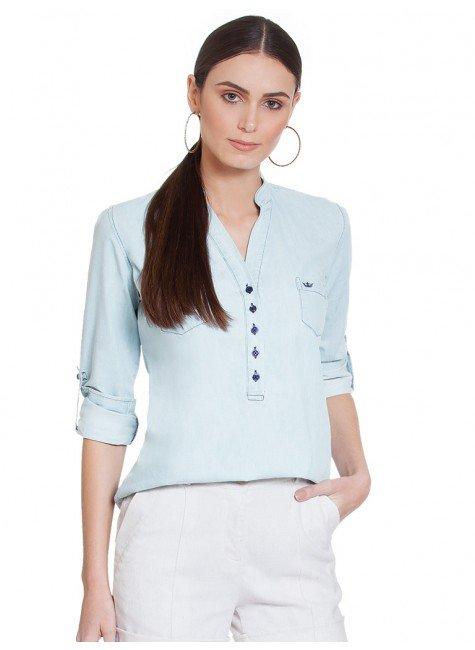 blusa jeans manga longa suzy frente