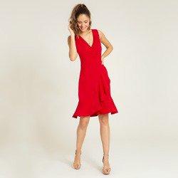 vestido vermelho transpassado monise detalhes