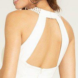 vestido gola alta off white sandrini detalhes