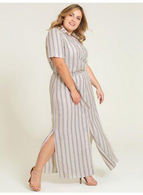 vestido chemise longo listrado estefania frente plus