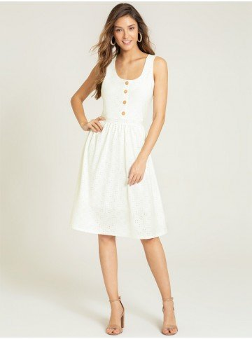 vestido off white renda katheryn frente