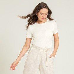 blusa off white com bolsos valente compose
