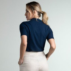 camisa polo canelado marinho seomara modelagem