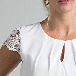 blusa off white manga renda halle detalhes