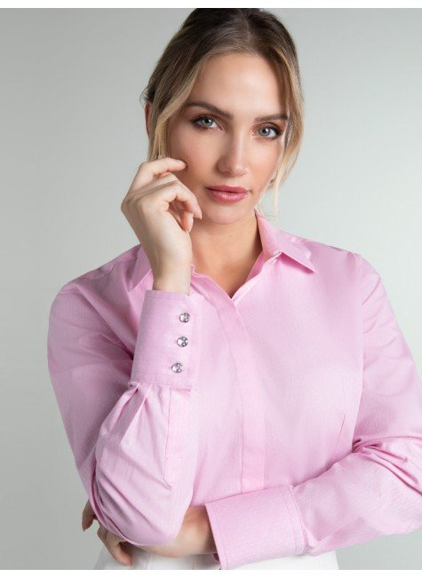 camisa maquinetada rosa geraldine frente