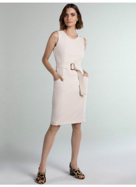 vestido alfaiataria bege winnie frente