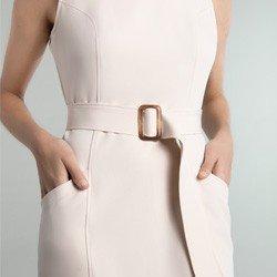 vestido alfaiataria bege winnie modelagem