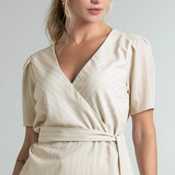 blusa listrada transpassada bege jodie detalhe