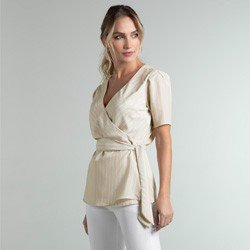 blusa listrada transpassada bege jodie geral