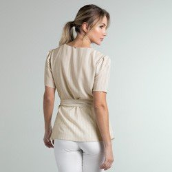 blusa listrada transpassada bege jodie modelagem