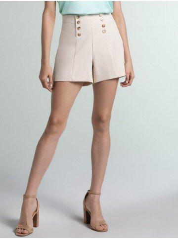 shorts alfaiataria bege estelle frente