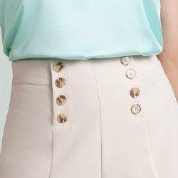 shorts alfaiataria bege estelle detalhes