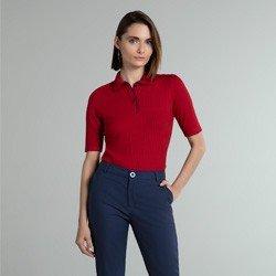 camisa polo vermelha marinho giselah geral