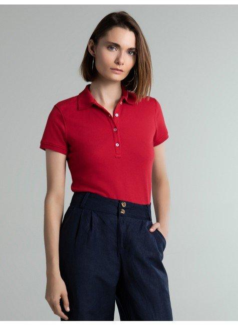 camisa polo piquet vermelho mirah frente