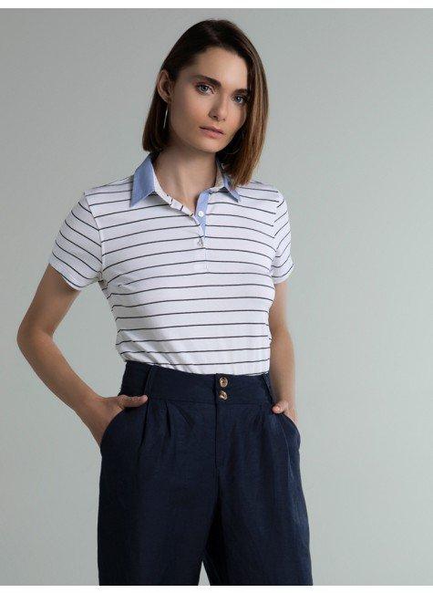 camisa polo listrada off white steffi frente