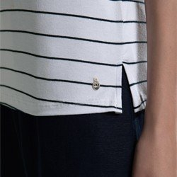 camisa polo listrada off white steffi aviamento