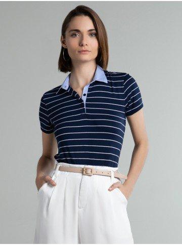 camisa polo marinho listrada dominika frente
