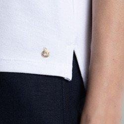 camisa polo branca crystal detalhe