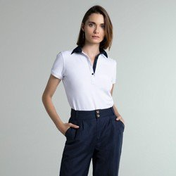 camisa polo branca crystal geral