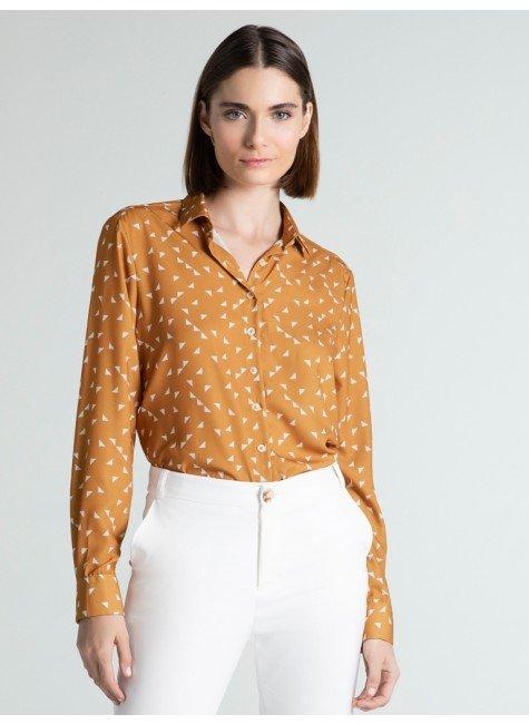 camisa social feminina estampada rania frente