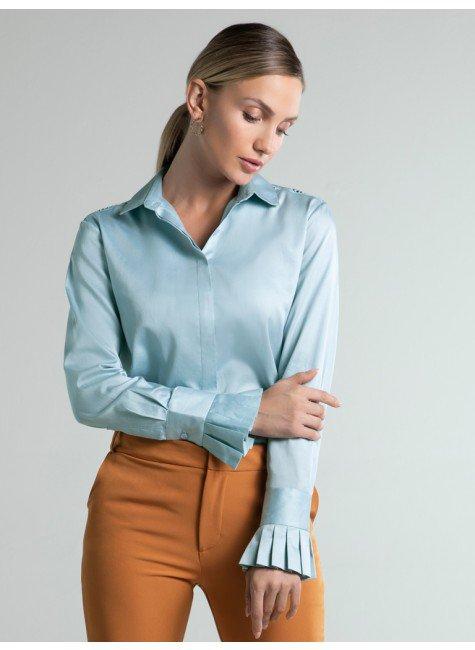 camisa social pregas azul teassalia frente