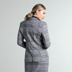 blazer xadrez cinza kilani modelagem