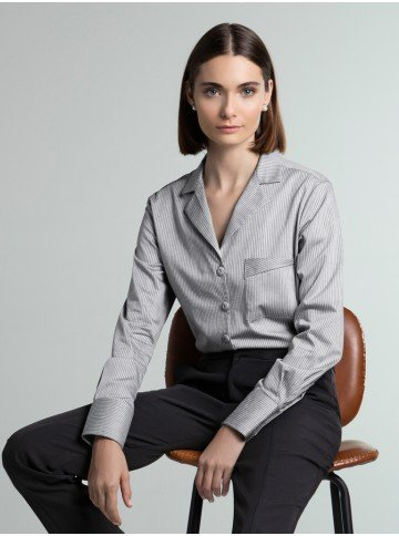 camisa listrada cinza bethany frente