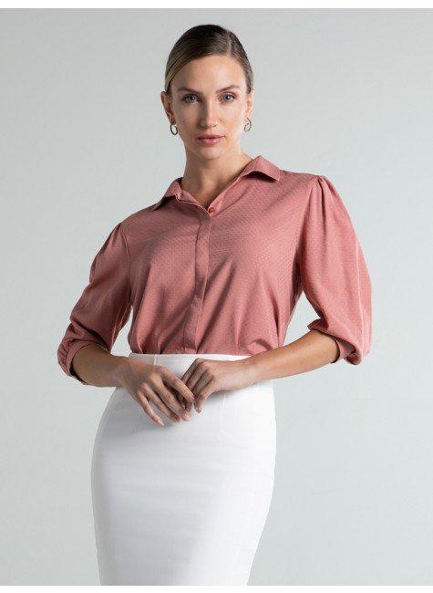 camisa maquinetada rose manga bufante leomara frente