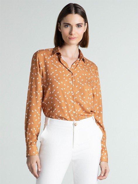 Camisa Social Feminina Estampada Rania