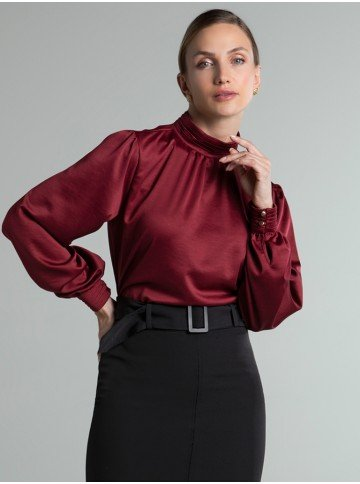 blusa bordo com pregas lady frente